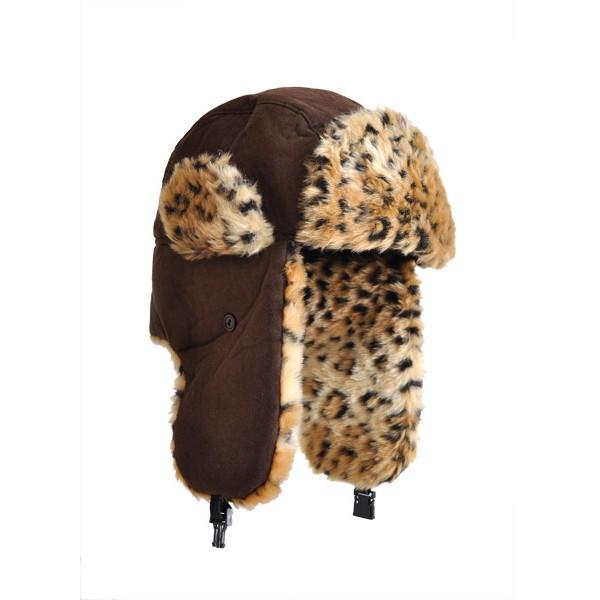 chapka-faux-leopard-marron-fonce