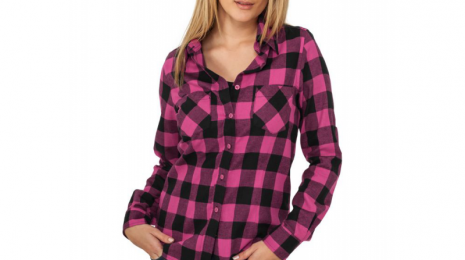 chemise-a-carreaux-urban-classics-noir-rose-fuchsia-flanelle