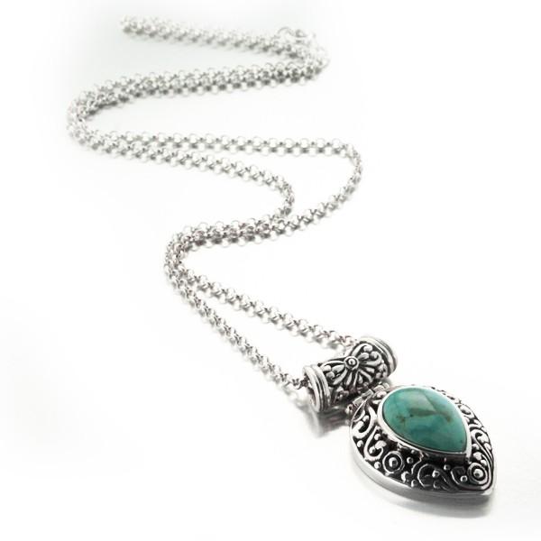 collier-rajasthan-en-argent-et-goutte-de-turquoise-ciselee