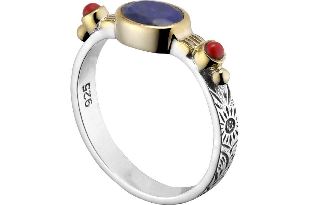 anneau cabochon argent et lapis lazuli Canyon chez Linea Chic