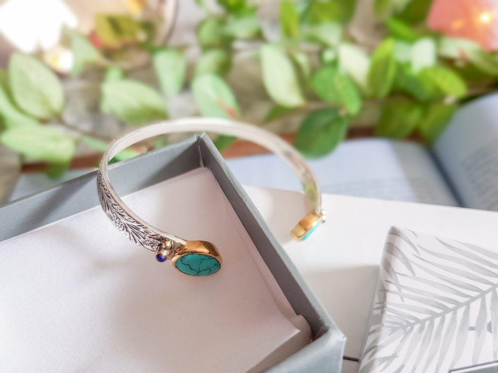 bracelet manchette argent et turquoise Canyon chez Linea Chic