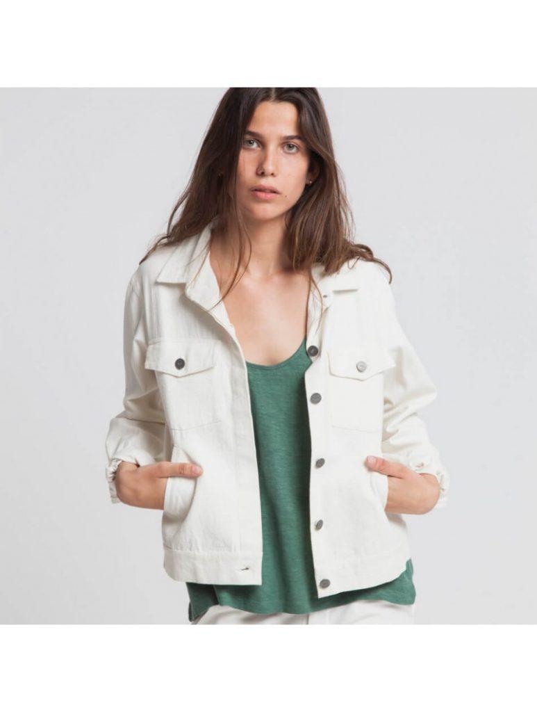 veste blanche en jean Thinking Mu