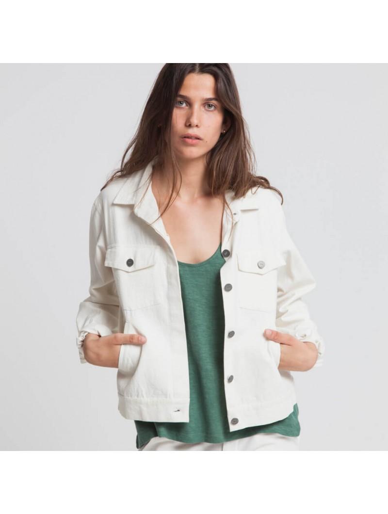 mode éco-responsable et équitable : veste blanche en jean Thinking Mu