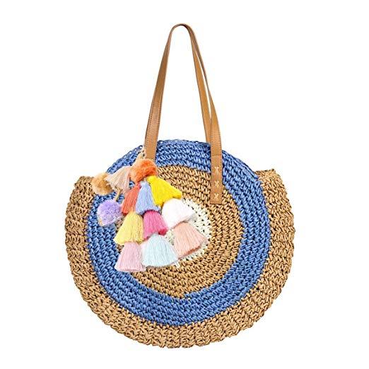 sac en paille rond avec pompons