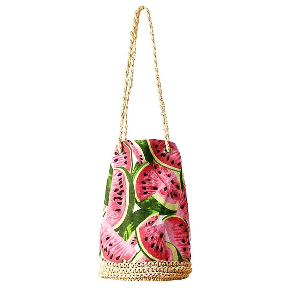 sac en paille motif pastèque