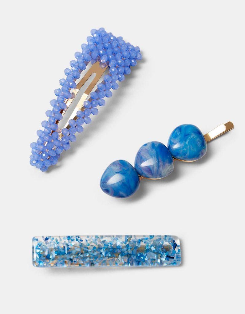 lot de 3 barrettes bleues à cheveux Stradivarius