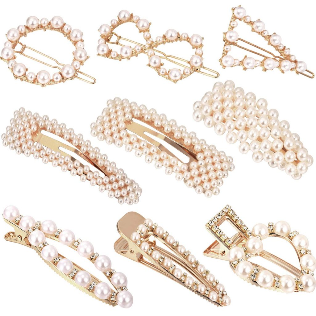 lot de 9 barrettes perles artificielles Amazon