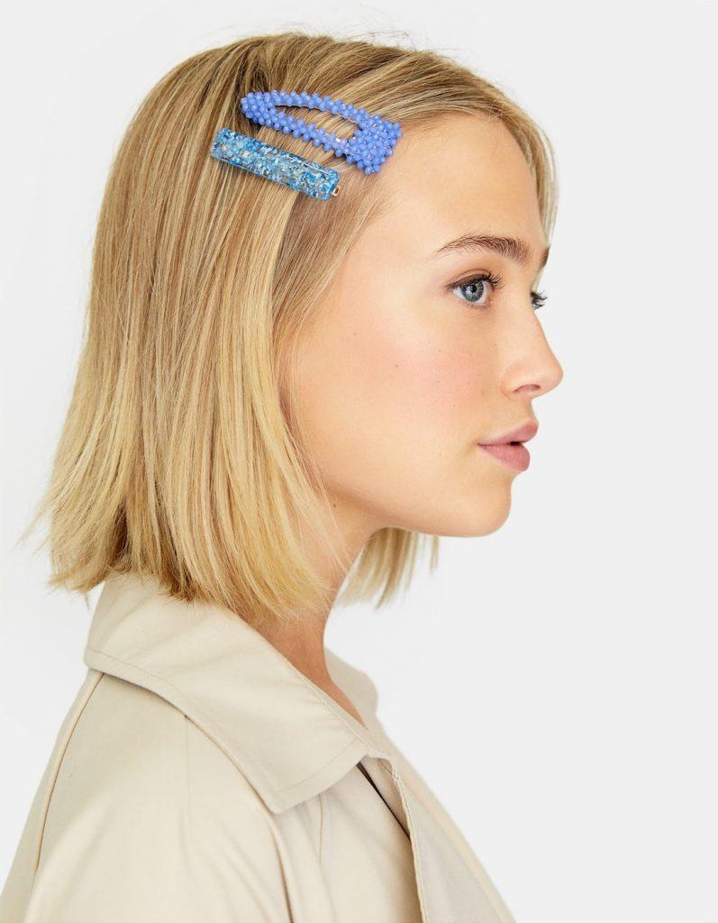 barrettes à cheveux bleues Stradivarius
