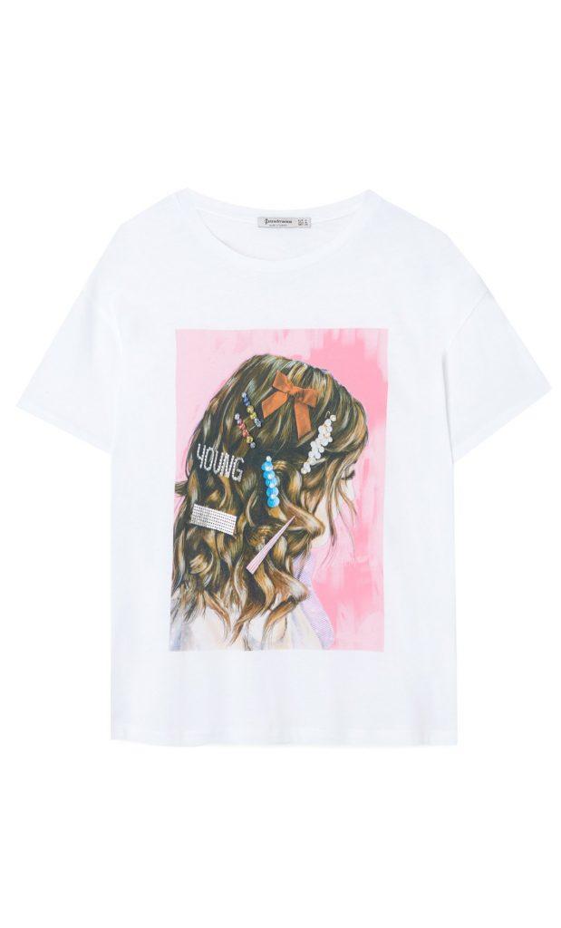 tee shirt imprimé avec détail bijou