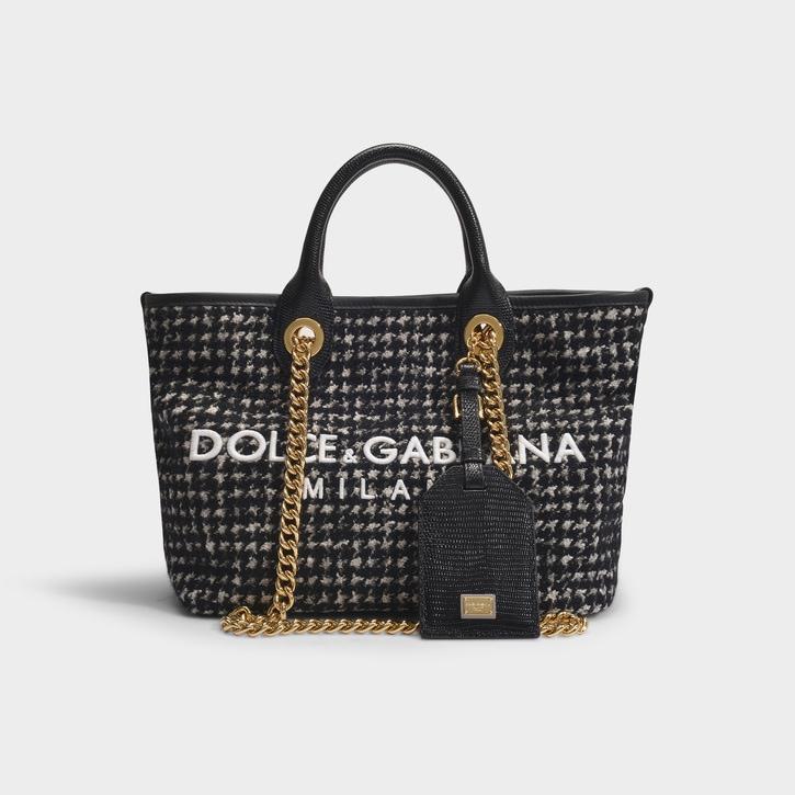 Cabas Capri en tweed noir Dolce & Gabbana