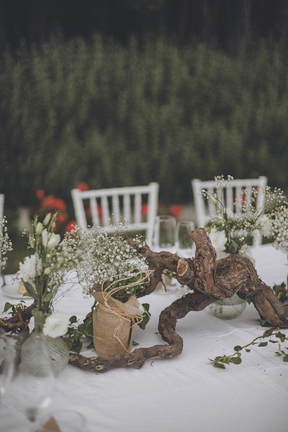 recyclage bout de bois décoration table mariage