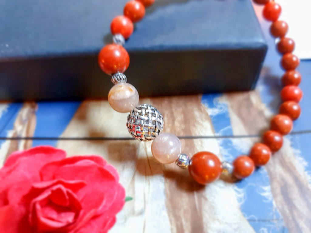 bracelet jaspe rouge et perles de soleil Dunp
