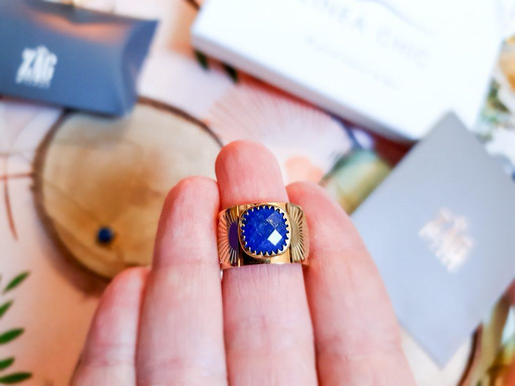 bague cabochon lapis lazuli