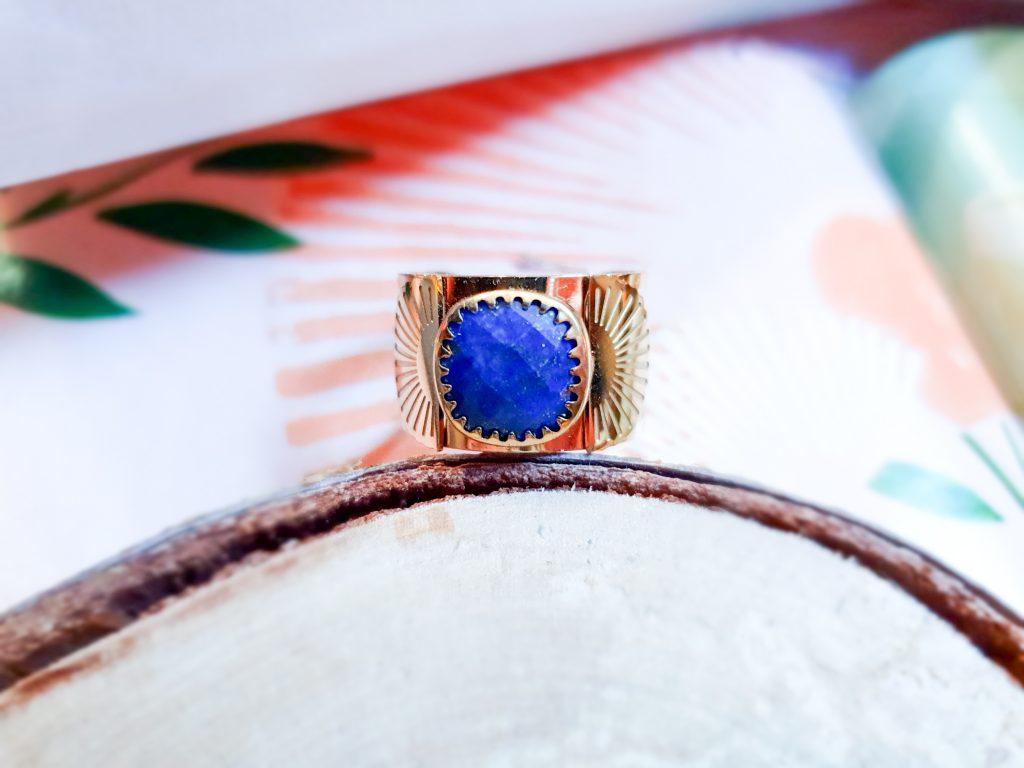 anneau cabochon lapis lazuli Zag Bijoux