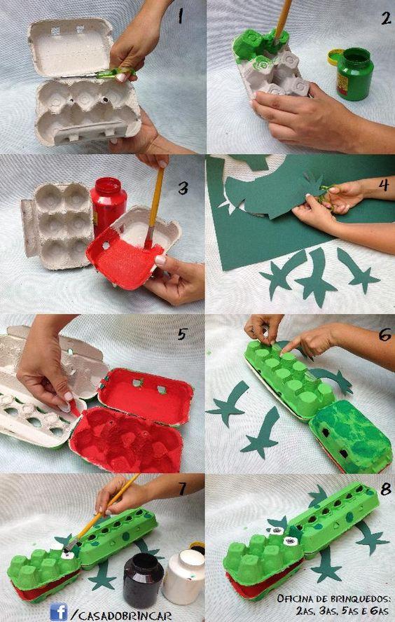 faire un crocodile avec une boîte à oeufs