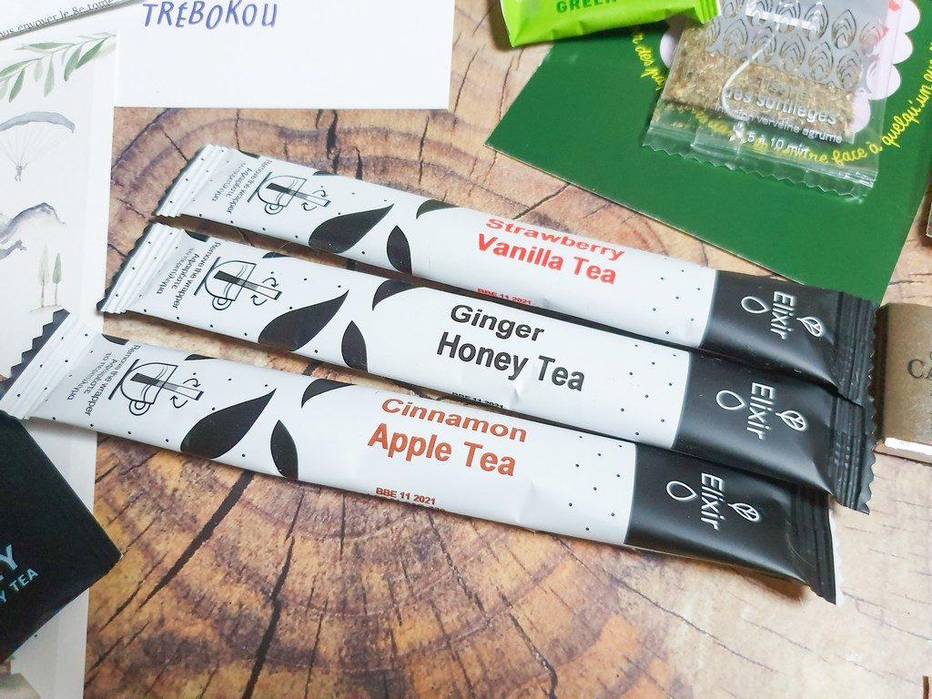 contenu box Plaisir de Lecture Exploratology mars 2020 : 3 sticks de thé à infuser Elixir