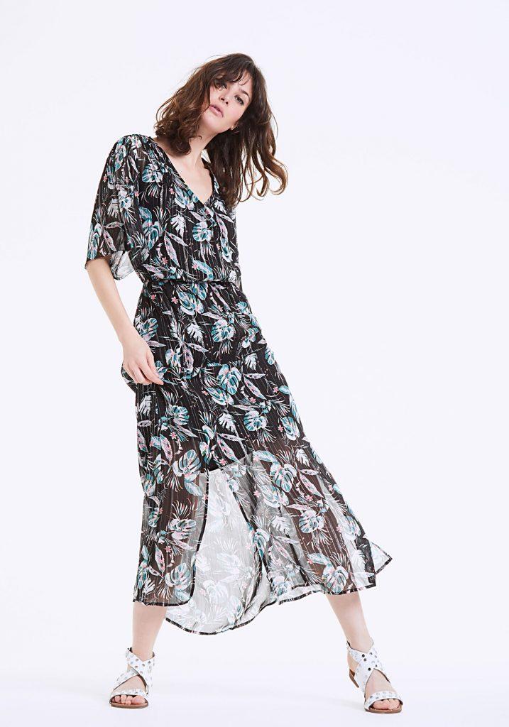 robe longue imprimée tropical Ikks