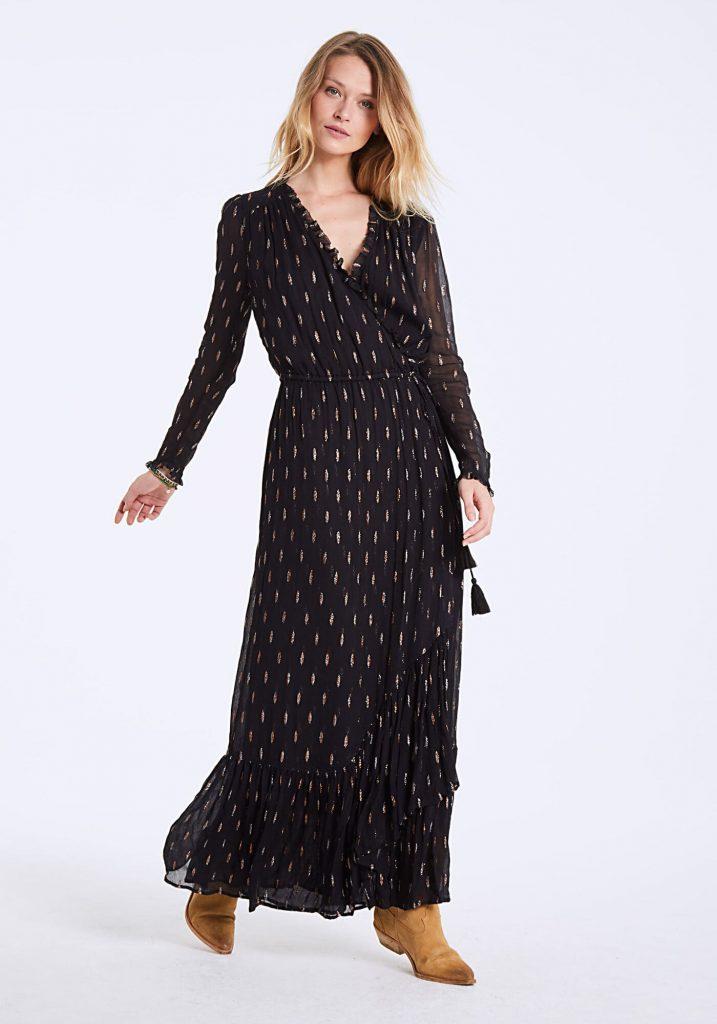 robe longue noire cintrée IKKS