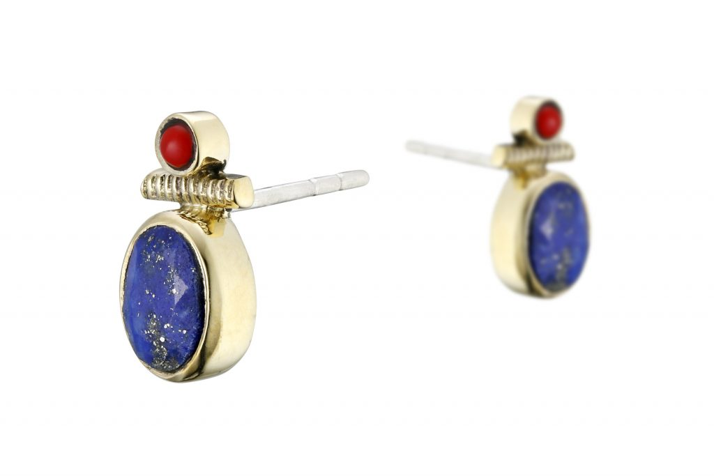 bijoux de l'été Canyon : boucles d'oreilles puces Lapis Lazuli et Corail Canyon