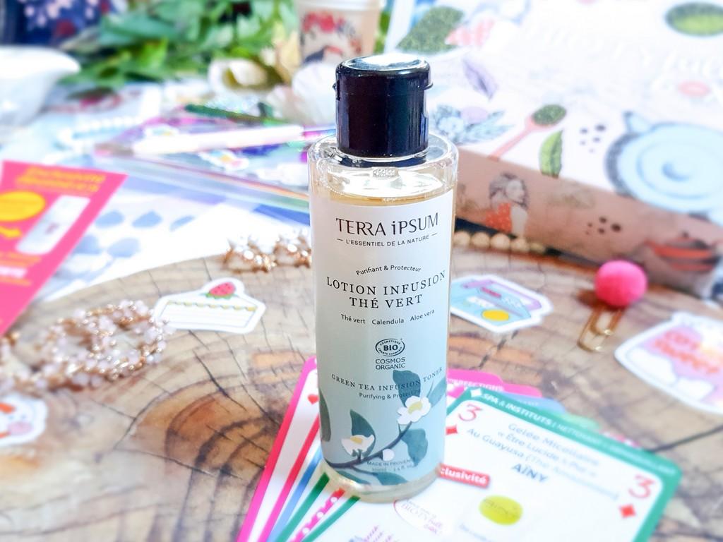 contenu box beauté bio Biotyfull Box septembre 2020 : lotion infusion thé vert Terra Ipsum