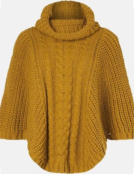 poncho en tricot jaune Accessorize