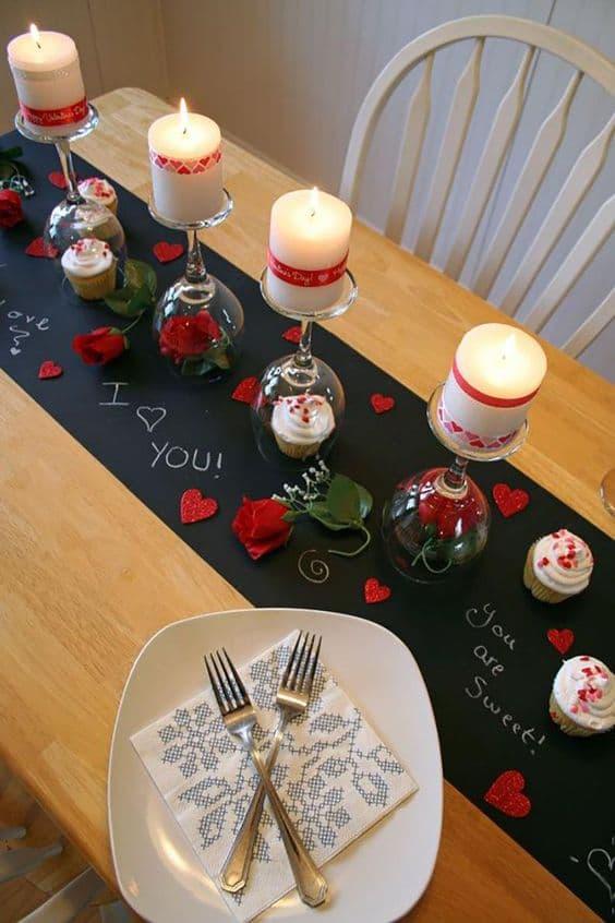 idée décoration de table Saint Valentin