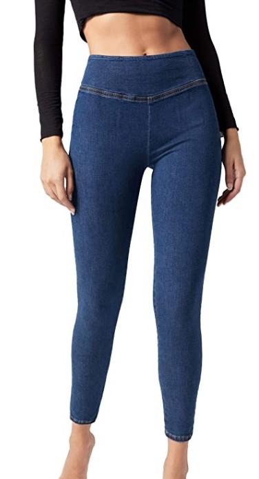 legging effet jean taille haute