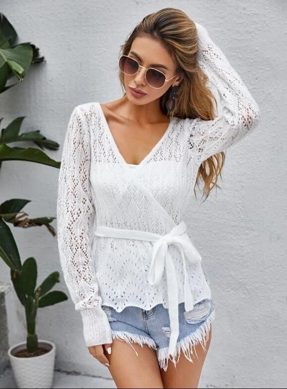 gilet ceinturé en tricot femme