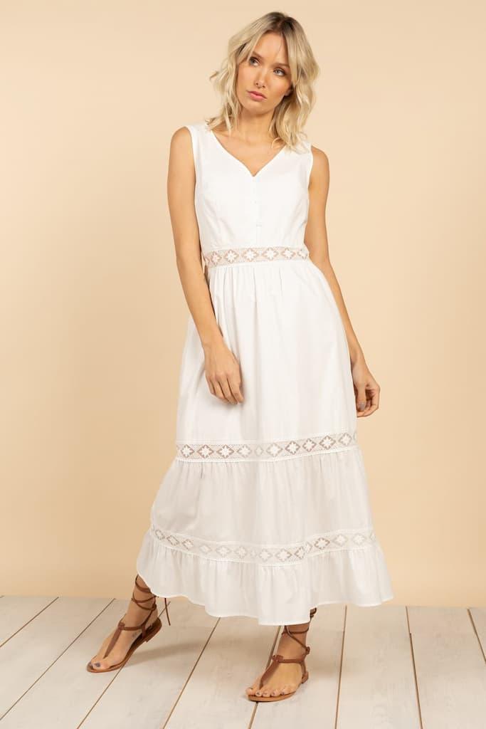 robe longue blanche bohème