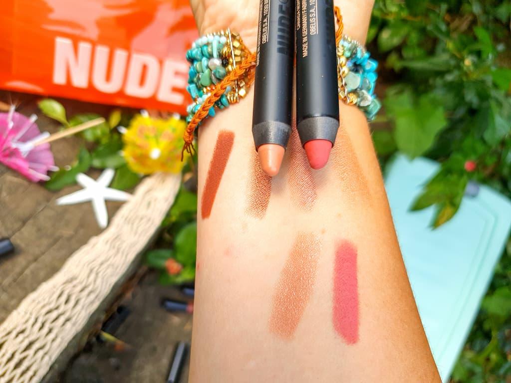 swatches crayons lèvres et joues Nudestix